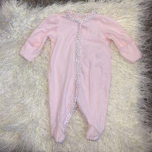 Ralph Lauren Pink Newborn button up footie onesie